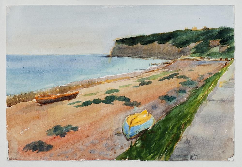 Pett cliff end, watercolour